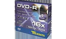 TRAXDATA DVD-R 4.7GB/120 MIN 16X Slim Box 5 KOM